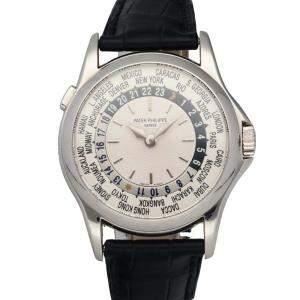 Patek Philippe Silver 18K White Gold World Time 5110G-001 Men's Wristwatch 37 MM
