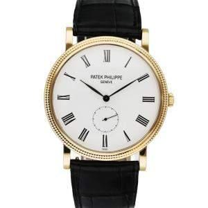 Patek Philippe Silver 18K Yellow Gold Calatrava 5119J Men's Wristwatch 36 MM