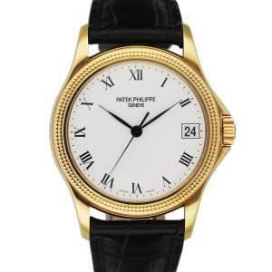 Patek Philippe White 18K Yellow Gold Calatrava 5117J Men's Wristwatch 36 MM