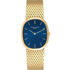 Patek Philippe Blue 18k Yellow Gold Golden Ellipse 3748 Men's Wristwatch 32 x 22 MM
