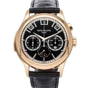 Patek Philippe Black 18K Rose Gold Grand Complications Minute Repeater Chronograph Perpetual Calendar 5208R-001 Men's Wristwatch 42 MM