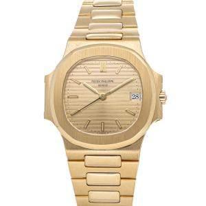 Patek Philippe Champagne 18K Yellow Gold Nautilus 3800/1J Men's Wristwatch 37 MM