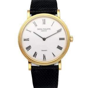 Patek Philippe White 18K Yellow Gold Calatrava 5120J Men's Wristwatch 35 MM