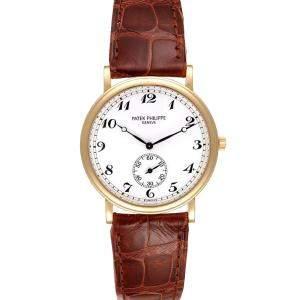 Patek Philippe White 18K Yellow Gold Calatrava 5022 Men's Wristwatch 33 MM