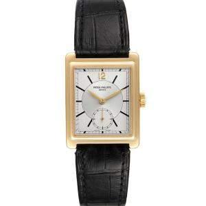 Patek Philippe Silver 18K Yellow Gold Gondolo 5010 Men's Wristwatch 25.5 x 29 MM