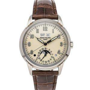 Patek Philippe Cream 18K White Gold Grand Complications Perpetual Calendar 5320G-001 Men's Wristwatch 40 MM
