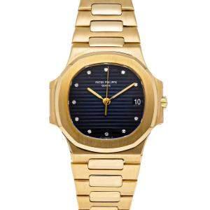 Patek Philippe Black Diamonds 18K Yellow Gold Nautilus 3800/1J Men's Wristwatch 37.5 MM