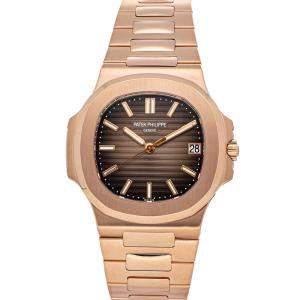 Patek Philippe Brown 18K Rose Gold Nautilus 5711/1R-001 Men's Wristwatch 40 MM