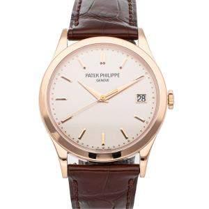 Patek Philippe White 18K Rose Gold Calatrava 5296R-010 Men's Wristwatch 38 MM
