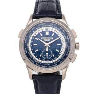 Patek Philippe Blue 18K White Gold Complications World Time Chronograph 5930G-001 Men's Wristwatch 39.5 MM