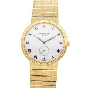 ساعة يد رجالية باتيك فيليب كالاترافا 3919/1J-010 ذهب أصفر عيار 18 بيضاء 33مم