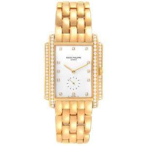 Patek Philippe White Diamonds 18k Yellow Gold Gondolo 5025 Men's Wristwatch 30 x 37.5 MM