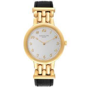 Patek Philippe Silver 18K Yellow Gold Calatrava 3915 Men's Wristwatch 34 MM