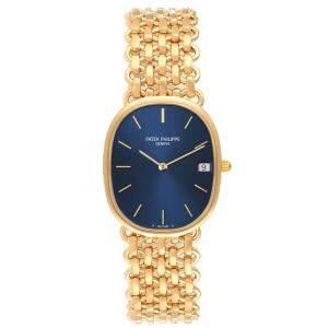 Patek Philippe Blue 18K Yellow Gold Golden Ellipse 3788 Men's Wristwatch 27 x 32 MM