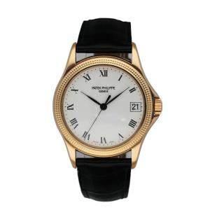 Patek Philippe White 18K Rose Gold Calatrava 5117R Men's Wristwatch 36 MM