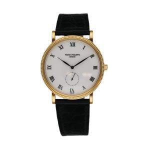 Patek Philippe Silver 18K Yellow Gold 3919J Calatrava Men's Wristwatch 33 MM