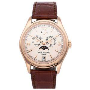 Patek Philippe Silver 18K Rose Gold Complications Annual Calendar Moon Phases 5146R-001 Men's Wristwatch 39 MM
