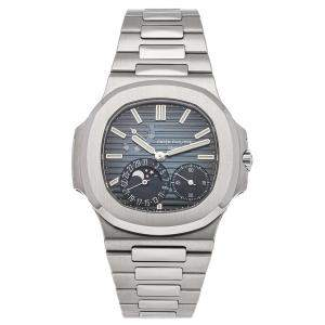 Patek Philippe Blue Stainless Steel Nautilus Moon Phase 5712/1A-001 Men's Wristwatch 40 MM