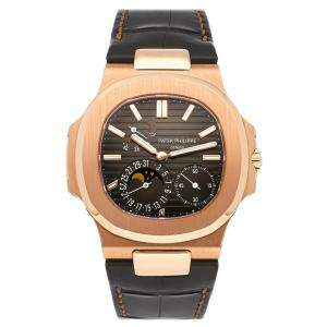 Patek Philippe Brown 18K Rose Gold Nautilus Date Moon Phases 5712R-001 Men's Wristwatch 40 MM
