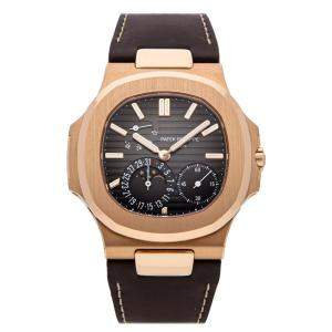 Patek Philippe Black 18K Rose Gold Nautilus Date Moon Phases 5712R-001 Men's Wristwatch 40 MM