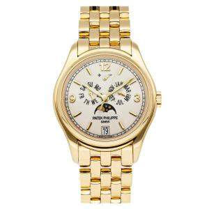 Patek Philippe Silver 18K Yellow Gold Complications Annual Calendar 5146/1J-001 Men's Wristwatch 39 MM