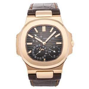 Patek Philippe Grey 18K Rose Gold Nautilus Moon Phases 5712R-001 Men's Wristwatch 40 MM
