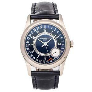 ساعة يد رجالية باتيك فيليب كالاترافا  6000G-012 ذهب أبيض عيار 18 زرقاء 37 مم