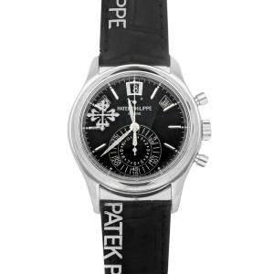 ساعة يد رجالية باتيك فيليب أنوال كالندر كرونوغراف  5960P-016 بلاتين سوداء 40 مم