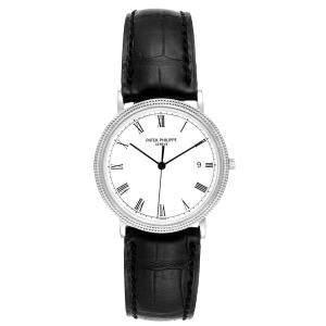 Patek Philippe White 18K White Gold Calatrava 3944 Men's Wristwatch 33 MM