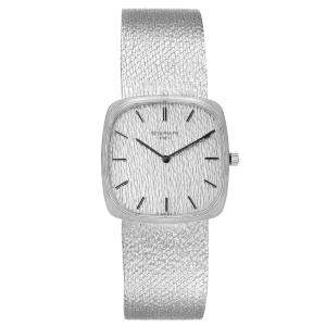 Patek Philippe Silver 18k White Gold Vintage 3566 Men's Wristwatch 28 MM
