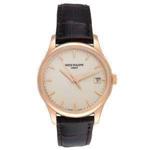 Patek Philippe Ivory 18k Rose Gold Calatrava Hunter 5227 Men's Wristwatch 38 MM
