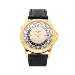 Patek Philippe Silver 18k Yellow Gold Complications World Time 5110J-001 Men's Wristwatch 37 MM