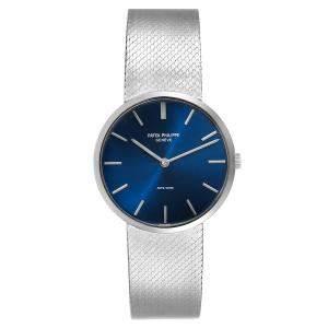 Patek Philippe Blue 18K White Gold Calatrava Vintage 3468 Men's Wristwatch 33 MM