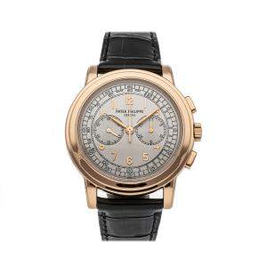 Patek Philippe Silver 18K Rose Gold Complications Chronograph 5070R-001 Men's Wristwatch 42 MM
