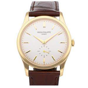 Patek Philippe Silver 18k Yellow Gold Calatrava 5196J-001 Men's Wristwatch 37 MM