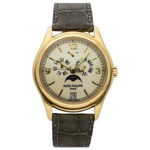 Patek Philippe Silver 18K Yellow Gold Complications Annual Calendar Moon Phases 5146J-001 Men's Wristwatch 39 MM