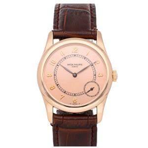 Patek Philippe Salmon 18K Rose Gold Calatrava 5000R Men's Wristwatch 33 MM