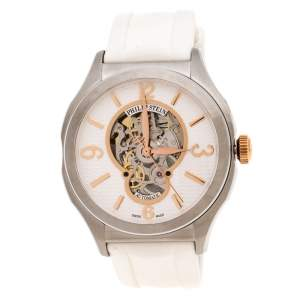 Philip Stein white Skeleton Stainless Steel Prestige Men's Wristwatch 45 mm