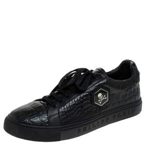 Philipp Plein Black Croc Embossed Leather Tusk Lace Up Sneakers Size 43