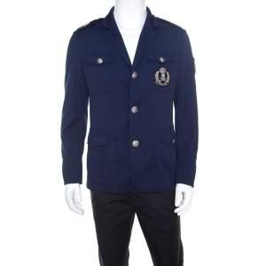 Philipp Plein Navy Blue Embellished Crest and Epaulette Detail Jacket L