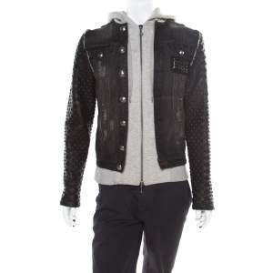 Philipp Plein Illegal Fight Club Black Textured Leather and Denim Johnny's Jacket M