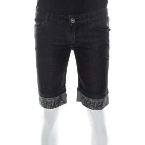 Philipp Plein Black Denim Medium Wash Printed Turn-Up Detail Shorts S