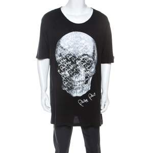 Philipp Plein Black Skull Print Cotton Crystal Detail T-Shirt 4XL