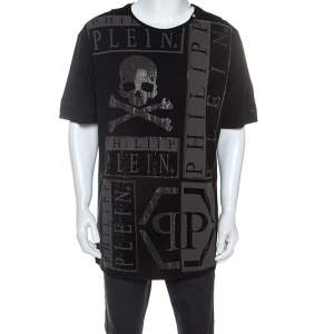 Philipp Plein Black Cotton Embellished Skull Detail T-Shirt 4XL