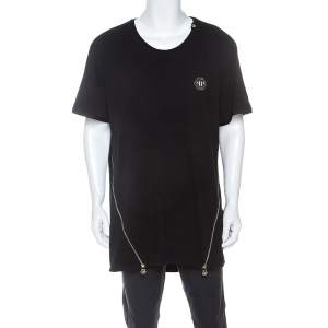 Philipp Plein Black Cotton Zipper Detail T-Shirt 4XL