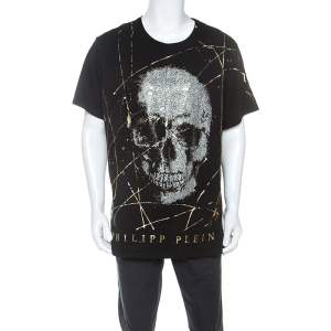 Philipp Plein Black Cotton Crystal Embellished Like Sparks T-Shirt 5XL