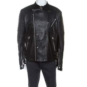 Philipp Plein Black Leather Detail Artemy Biker Jacket 5XL