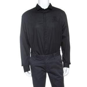 Philipp Plein Black Embellished Cotton Diamond Cut Shirt 4XL
