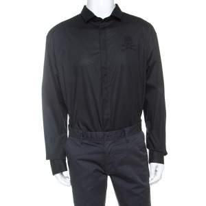 Philipp Plein Black Embellished Cotton Platinum Cut Shirt 5XL