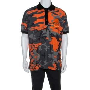Philipp Plein Orange Camouflage Print Cotton Volantine Polo T-Shirt 3XL